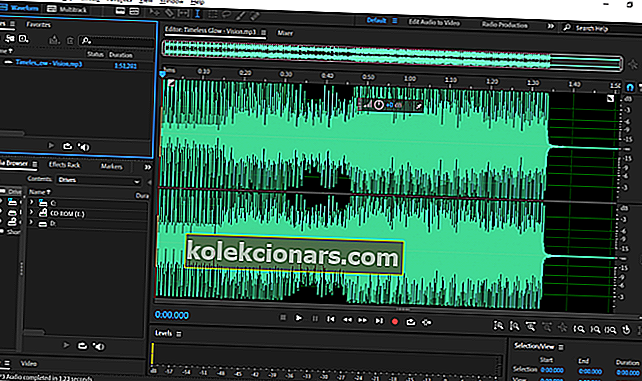 "Pagrindinis ""Adobe Audition"" langas"